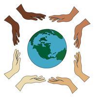 alle handen met wereld vector