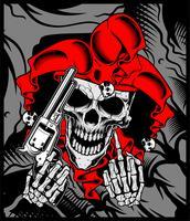 de schedel van de joker houdt een pistool.vector hand tekening