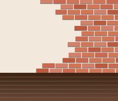 Muur van bakstenen en ruimteachtergrondkunstvector