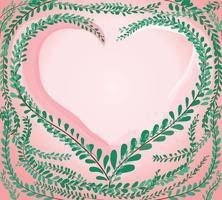 hartvorm in groene pastel bladeren Jas knoppen, Mexicaanse margriet achtergrond vector