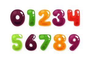 Kleurrijke jelly alfabetten voor kinderen nummers vector