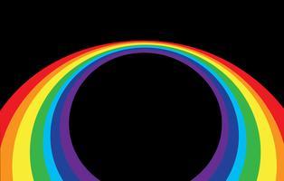 abstracte regenbooggolf op een zwarte achtergrond vector
