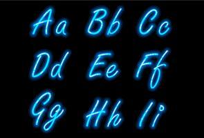 Neon alfabet lettertype in blauw deel 1 vector