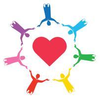 groep mensen hand in hand met liefde