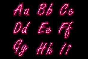 Neon alfabet lettertype in roze kleur deel 1 vector