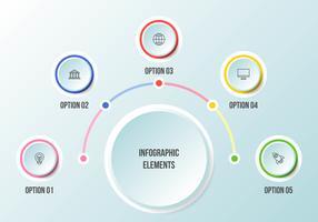 Halfcirkelgrafiek, tijdlijn infographic sjablonen vector