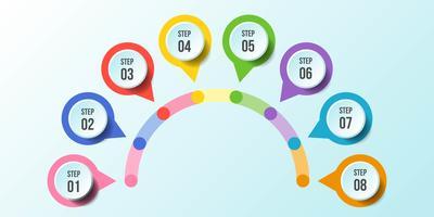 Halfcirkelgrafiek, tijdlijn infographic sjablonen
