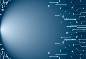 Abstracte blauwe de kunstachtergrond en ruimte van technologielijnen