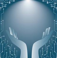 blauwe handen houden en verlichting van technologie kunst achtergrond vector