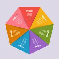 Cirkeldiagram, geometrische infographic met driehoeksvorm vector