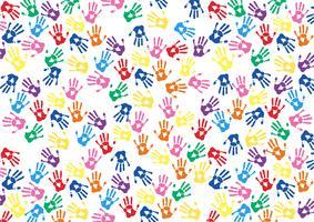kleurrijke handen wordt afgedrukt achtergrond vector