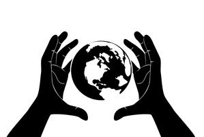 hand red de wereld vector