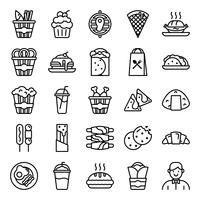 Fastfood pictogrammen pack vector