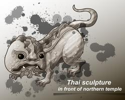 Thais beeldhouwwerk in beeldverhaalstijl.