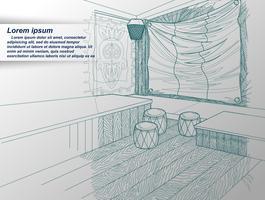 tekening van het interieur.