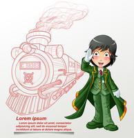 Officier van het treinstation en de overzichtstrein. vector