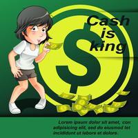 Cash is koning in cartoon-stijl. vector