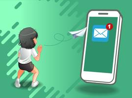 e-mail verzenden via internet. vector