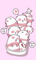 Panda en vrienden in badkuip. vector