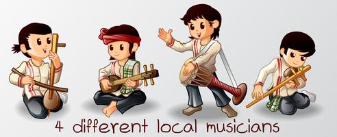 4 Lokale muzikanten karakter in cartoon-stijl.