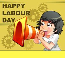 Gelukkige dag van de arbeid in cartoon stijl. vector
