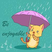 Leuke kat in moessonseizoen. vector