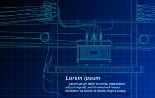 Het schetsen van transformator en kabel op blauwdrukachtergrond. vector