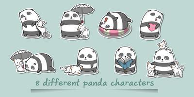 8 verschillende pandakarakters. vector