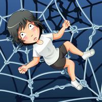 Iemand zit gevangen in een spinnennet.