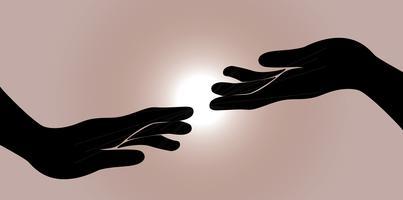 hand en andere hand vector