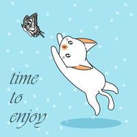 De leuke kat vangt vlinder.