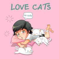 Ze houdt van kleine katten. vector