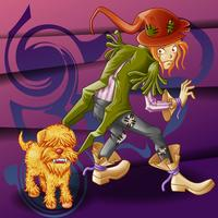 Vagabond en gekke hond in cartoon-stijl.
