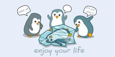 pinguïn en vrienden. vector