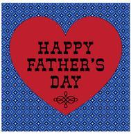 Vaderdagtypografie grafisch met rood hart en bandana patroon als achtergrond