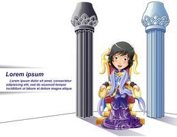 Prinsessenkarakter op beeldverhaalstijl en pijlersachtergrond.