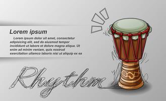 Getekende percussie en tekst op witte achtergrond.