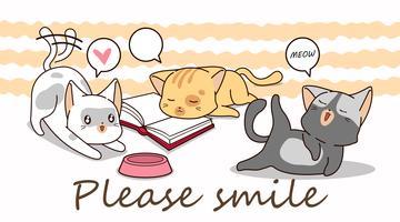 3 kleine katten stripfiguren.