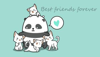 Panda en 4 katten. vector