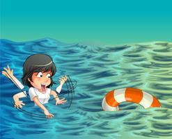 Iemand heeft hulp nodig in de oceaan. vector