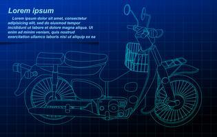 Motorfiets draadframe. vector