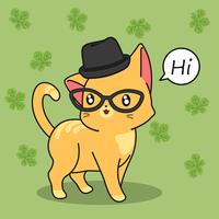Leuke kat zegt hallo. vector