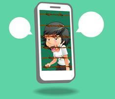Ze is vastgehouden in een mobiele telefoongevangenis. vector