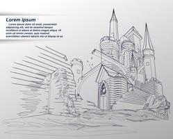 Schetsen van het kasteel. vector