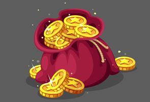 Zak met gouden munten vectorillustratie vector