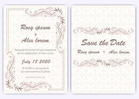 Bruiloft uitnodigingskaart Floral hand getekende frame.