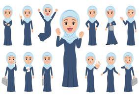 Moslim zakenvrouw in verschillende poses geïsoleerd op een witte achtergrond.