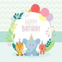 Gelukkige verjaardag dierlijke groeten kaart vector