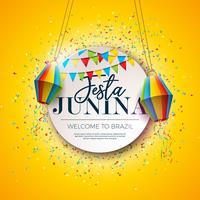 Festa Junina Festival Design met feestvlaggen en papieren lantaarn op kleurrijke Confetti achtergrond. Vector traditionele Brazilië juni viering illustratie