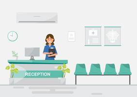 medisch personeel vrouwen in ziekenhuis van de receptie op vlakke stijl. vector